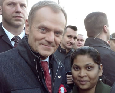 Donald Tusk, Prime Minister of Poland with one of our students