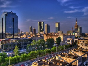 A panorama of Warsaw city centre.